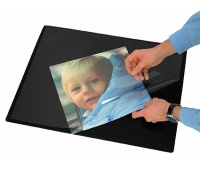 Desk pad with transparent film, Q-CONNECT, 63x50cm, black