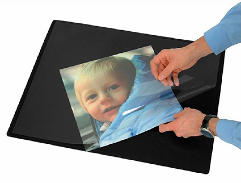 Podkładka na biurko z przezroczystą folią Q-CONNECT, 63x50cm, czarna, Podkładki na biurko, Wyposażenie biura