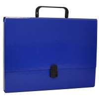 Teczka-pudełko OFFICE PRODUCTS, PP, A4/5cm, z rączką i zamkiem, granatowa, Teczki przestrzenne, Archiwizacja dokumentów