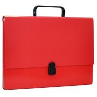 Teczka-pudełko OFFICE PRODUCTS, PP, A4/5cm, z rączką i zamkiem, czerwona, Teczki przestrzenne, Archiwizacja dokumentów
