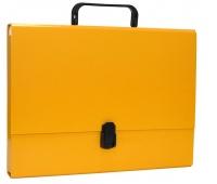 Teczka-pudełko OFFICE PRODUCTS, PP, A4/5cm, z rączką i zamkiem, żółta, Teczki przestrzenne, Archiwizacja dokumentów