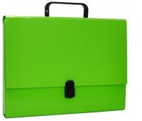 Teczka-pudełko OFFICE PRODUCTS, PP, A4/5cm, z rączką i zamkiem, jasnozielona, Teczki przestrzenne, Archiwizacja dokumentów