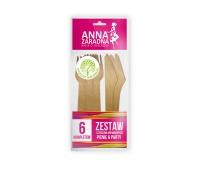 Zestaw sztućców drewnianych ANNA ZARADNA, 6 kompletów, drewno, Naczynia jednorazowe i serwetki, Artykuły higieniczne i dozowniki