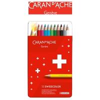 Kredki CARAN D'ACHE Swisscolor, metalowe pudełko, 12 szt., Plastyka, Artykuły szkolne