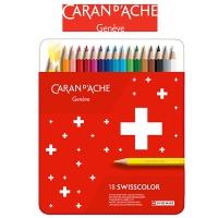 Kredki CARAN D'ACHE Swisscolor, metalowe pudełko, 18 szt., Plastyka, Artykuły szkolne
