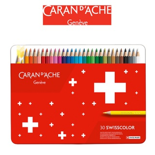 Kredki CARAN D'ACHE Swisscolor, metalowe pudełko, 30 szt., Plastyka, Artykuły szkolne