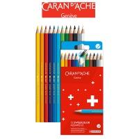 Kredki akwarelowe CARAN D'ACHE Swisscolor, kartonowe pudełko, 12 szt., Plastyka, Artykuły szkolne