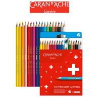 Kredki akwarelowe CARAN D'ACHE Swisscolor, kartonowe pudełko, 18 szt., Plastyka, Artykuły szkolne