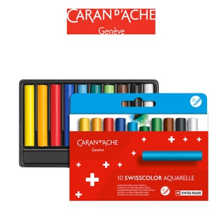 Kredki akwarelowe woskowe CARAN D'ACHE Swisscolor, kartonowe pudełko, 10 szt., Plastyka, Artykuły szkolne