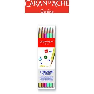 Kredki CARAN D'ACHE Fancolor Metallic, 6 szt., Plastyka, Artykuły szkolne
