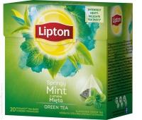Herbata LIPTON, piramidki, 20 torebek, zielona z miętą, Herbaty, Artykuły spożywcze