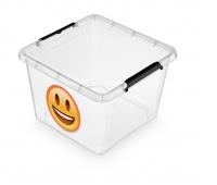 Pojemnik do przechowywania ORPLAST Simple box emotikon, 32l, transparentny, Pudła, Wyposażenie biura