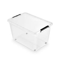 Pojemnik do przechowywania ORPLAST Simple box, 60l, na kółkach, transparentny, Pudła, Wyposażenie biura