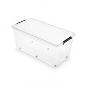 Pojemnik do przechowywania ORPLAST Simple box, 75l, na kółkach, transparentny, Pudła, Wyposażenie biura
