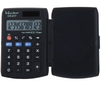 Kalkulator kieszonkowy VECTOR KAV CH-217 BLK, 12-cyfrowy, 63x95mm, czarny