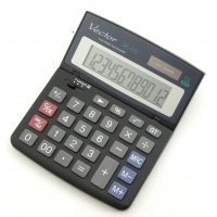 Kalkulator biurowy VECTOR KAV DK-215 BLK, 12-cyfrowy, 112x135mm, czarny