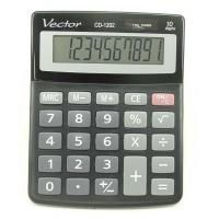 Kalkulator biurowy VECTOR KAV CD-1202 BLK, 10-cyfrowy, 103x130mm, czarny