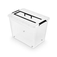 Pojemnik do przechowywania ORPLAST Simple Box, 80l z rączką, transparentny, Pudła, Wyposażenie biura
