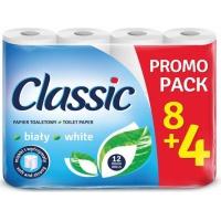 Papier toaletowy celulozowy CLASSIC, 2-warstwowy, 144 listki, 12szt., biały, Papiery toaletowe i dozowniki, Artykuły higieniczne i dozowniki