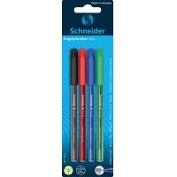 Długopis SCHNEIDER VIZZ, M, 4szt., blister, mix kolorów, Długopisy, Artykuły do pisania i korygowania