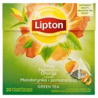 Herbata LIPTON, piramidki, 20 torebek, zielona mandarynka i pomarańcza, Herbaty, Artykuły spożywcze