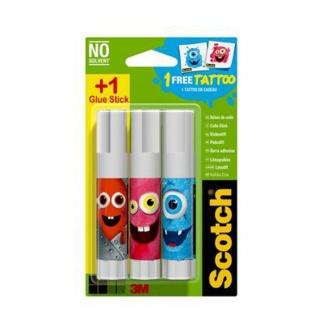 Klej szkolny w sztyfcie SCOTCH® Monsters Edition (TTL0087), do papieru, 8g, 2szt+1gratis, Kleje, Drobne akcesoria biurowe