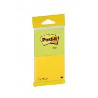 Karteczki samoprzylepne Post-it® (6720-YG), 76x63mm, 2x75 kart., żółte i zielone, Bloczki samoprzylepne, Papier i etykiety