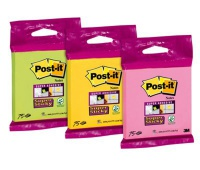 Bloczki samoprzylepne Post-it® Super Sticky (6820-SS), 76x76mm, 75 kart., w opakowaniu zbiorczym, mix kolorów, Bloczki samoprzylepne, Papier i etykiety