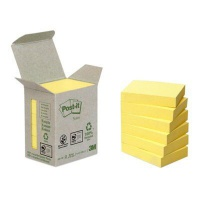 Karteczki samoprzylepne Post-it® (653-1B), ekologiczne, 38x51mm, 6x100 kart., żółte, Bloczki samoprzylepne, Papier i etykiety