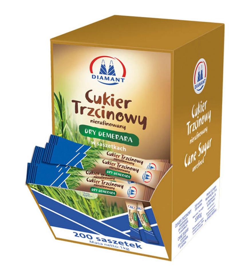 Cukier trzcinowy DIAMANT, w saszetkach, 200 szt. x 5 g, Cukier, Artykuły spożywcze