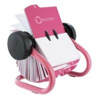 Wizytownik obrotowy CLASSIC, na 400 wizytówek, 67x102mm, różowy, Wizytowniki, Drobne akcesoria biurowe