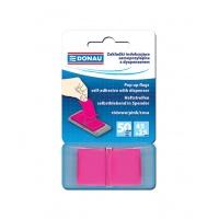 Zakładki indeksujące DONAU, PP, 25x45mm, 1x50 kart., różowe, Bloczki samoprzylepne, Papier i etykiety