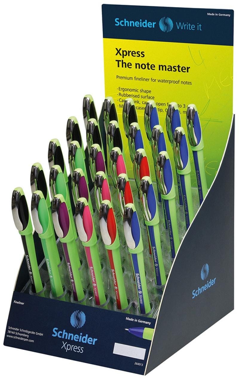 Display cienkopisów SCHNEIDER Xpress, 0,8 mm, 30 szt., miks kolorów
