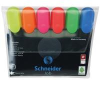 Zestaw zakreślaczy SCHNEIDER Job, 1-5 mm, 6 szt., miks kolorów, Textmarkery, Artykuły do pisania i korygowania