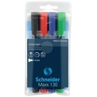 Zestaw markerów uniwersalnych SCHNEIDER Maxx 130, 1-3mm, 4 szt., miks kolorów, Markery, Artykuły do pisania i korygowania