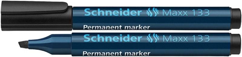 Marker permanentny SCHNEIDER Maxx 133, ścięty, 1-4mm, czarny, Markery, Artykuły do pisania i korygowania