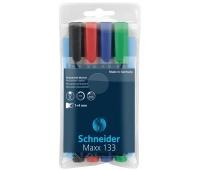 Zestaw markerów uniwersalnych SCHNEIDER Maxx 133, 1-4mm, 4 szt., miks kolorów, Markery, Artykuły do pisania i korygowania