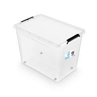 Pojemnik do przechowywania ORPLAST, SimpleStore Box, 80l, z klipsem, na kółkach, transparentny, Pudła, Wyposażenie biura
