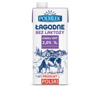 Mleko UHT POLMLEK 2%, bez laktozy, 1l, Mleka i śmietanki, Artykuły spożywcze