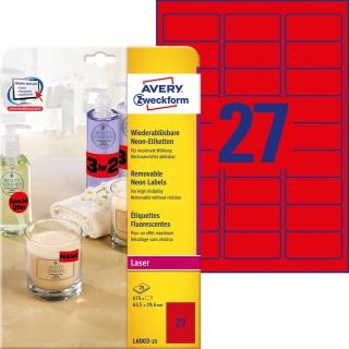 Usuwalne etykiety neonowe Avery Zweckform; A4, 25 ark./op., 63,5 x 29,6 mm, czerwone neonowe, Etykiety do oznaczania, Etykiety