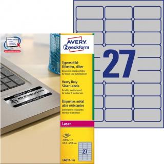 Etykiety znamionowe srebrne Avery Zweckform; A4, 100 ark./op., 63,5 x 29,6 mm, poliestrowe, Etykiety ochronne i zabezpieczające, Etykiety