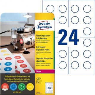 Tabliczki inspekcyjne plomby Avery Zweckform, A4, 10 ark./op., 240 et./op.; Ø30mm; białe, Etykiety ochronne i zabezpieczające, Etykiety