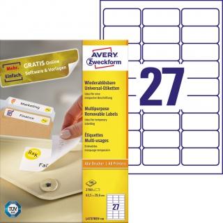 Usuwalne etykiety uniwersalne Avery Zweckform; A4, 100 ark./op., 63,5 x 29,6 mm, białe, Etykiety uniwersalne, Etykiety