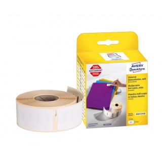 Etykiety uniwersalne w rolce do drukarek termicznych; 500 etyk./rolka, 1 rolka/op.; 19 x 51 mm, usuwalne, białe, Etykiety w rolce do termodruku, Etykiety