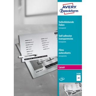 Przezroczyste folie samoprzylepne; A4, 100 szt./op., powlekane, grubość 0,14 mm, Avery Zweckform, Folie, Etykiety
