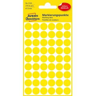 Kolorowe kółka do zaznaczania Avery Zweckform; 270 etyk./op., Ø12 mm, żółte, Kółka do zaznaczania, Etykiety