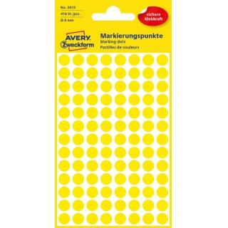 Kolorowe kółka do zaznaczania Avery Zweckform; 416 etyk./op., Ø8 mm, żółte, Kółka do zaznaczania, Etykiety