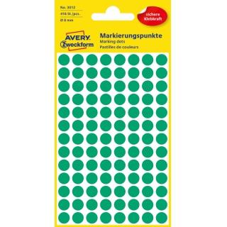 Kolorowe kółka do zaznaczania Avery Zweckform; 416 etyk./op., Ø8 mm, zielone, Kółka do zaznaczania, Etykiety
