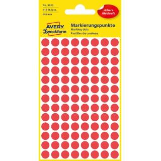 Kolorowe kółka do zaznaczania Avery Zweckform; 416 etyk./op., Ø8 mm, czerwone, Kółka do zaznaczania, Etykiety