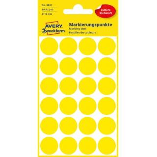 Kolorowe kółka do zaznaczania Avery Zweckform; 96 etyk./op., Ø18 mm, żółte, Kółka do zaznaczania, Etykiety